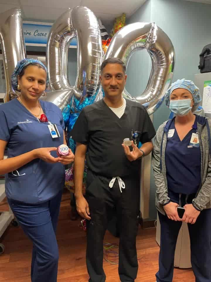 Kiran Tipirneni, M.D., F.A.C.S. completed his 100th Inspire procedure on Thursday, May 13, 2021. Throughout the country, less than 5% of 400 eligible surgeons have completed this many cases.