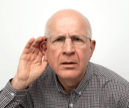 senior suffering from hearing loss